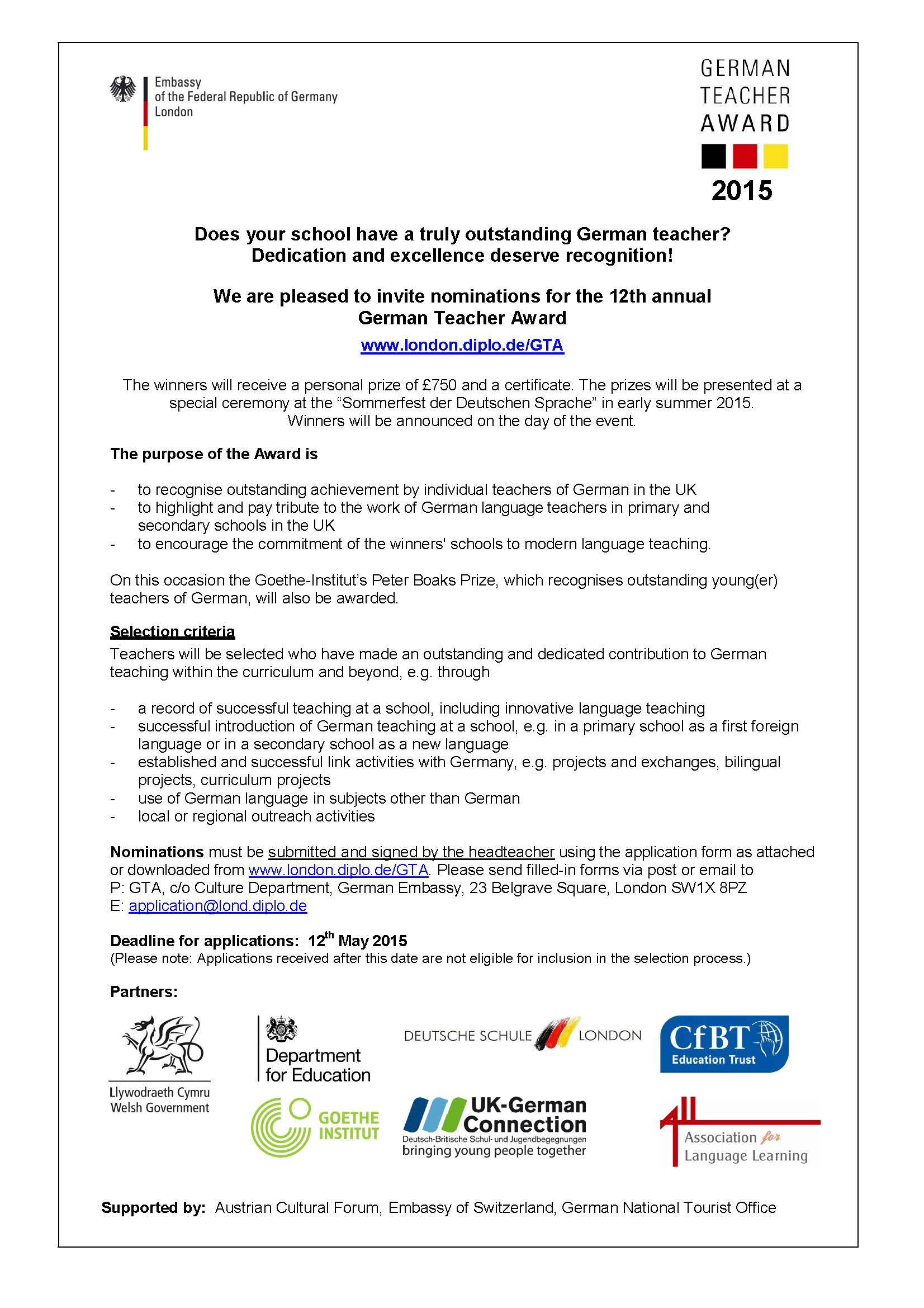 German Teacher Award 2015 call for submissions PDF
