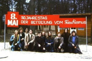 The group in April 1975 at the Freie Deutsch Jugend Summer Camp in Lehnitz, near Berlin
