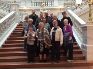 The group with Professors Durrell and Fandrych and staff of the Herder Institut at the University of Leipzig Library, October 2015